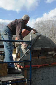 Wood-fired oven construction process.